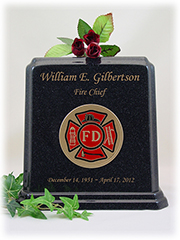Black Granite Fireman Urn with Gold Lettering