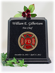 Black Granite Fireman Urn with White Lettering