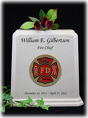 White Granite Fireman Urn with Black Lettering