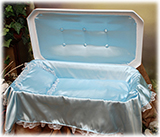 Deluxe White and Blue Pet Casket