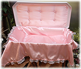 Deluxe White and Pink Pet Casket