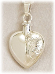 Etched Heart Pet Cremation Jewelry