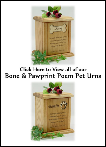 Bone and Pawprint Poem Dog Urns