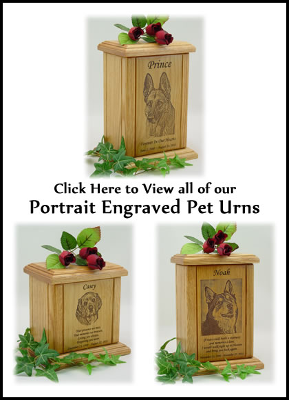 Portrait Engraved Dog Urns