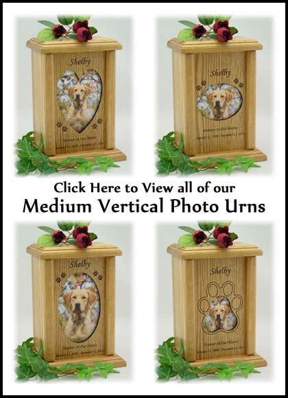 Photo Pet Urns - Medium Vertical Dog Urn