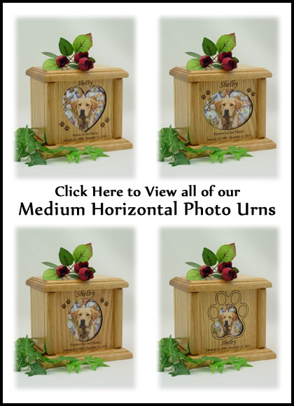 Photo Pet Urns - Medium Horizontal Dog Urn